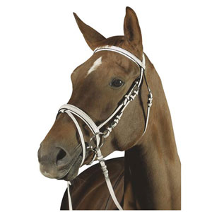 Snaffle bridle, flash noseband, white leather