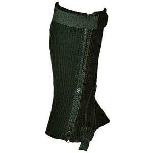 Mini-Chaps Rauhleder, Stretch mit Zipp, 1 Paar - S - schwarz