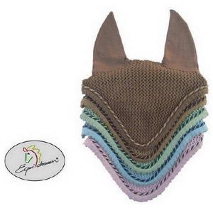 Kristall Ohrenhaube mit zweifärbiger Kordel - hellbraun
