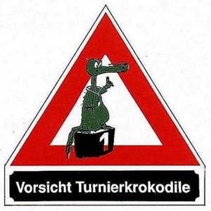 Schild dreieckig Turnierkrokodil, Alu