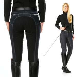 Denim Effect Full Seat Breeches